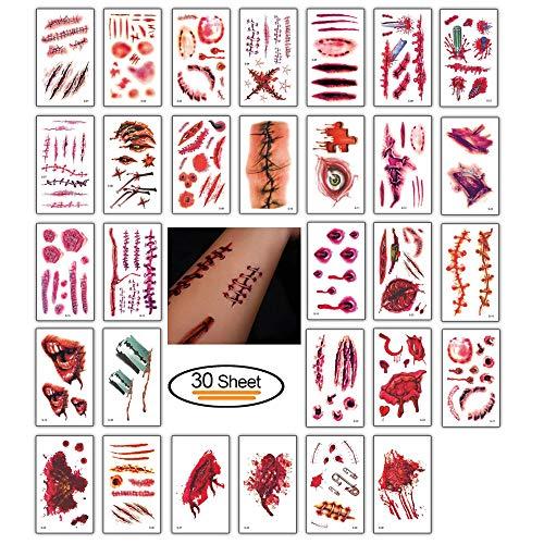 Nuluxi Temporäre Tattoos Wunden Horror Wasserdicht Halloween Wunden Tattoos Zombie Temporäre Tätowierung Wasserdicht Temporäre Tattoos Aufkleber Make-up für Halloween Kostüm und Cosplay (30 Blatt)