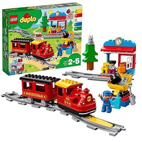 LEGO - DUPLO Treno a Vapore con Locomotiva Push And Go e 5 Mattoncini Multifunzione, Set di Costruzioni per Bambini dai 2 ai 5 Anni, 10874