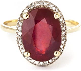 💎 8.18 Carat 14k Solid Yellow Gold Ring with Oval-Shaped Brilliant Vibrant Ruby and Genuine Natural Diamonds