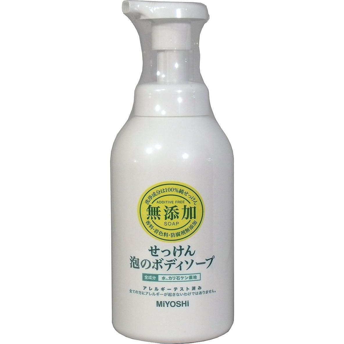 ハブブ石油指【まとめ買い】ミヨシ 無添加 せっけん泡のボディソープ ポンプ 500ml ×2セット
