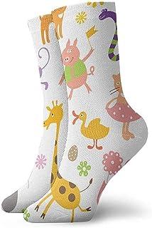 Be-ryl, Calcetines Deportivos para el Tobillo de Las Mujeres Calcetines de Animales de Dibujos Animados Hombres Cojín de Confort Calcetín Que Absorbe la Humedad 30 cm