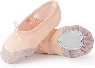 Zapatillas de Ballet Suela Partida de Cuero Calzado de Danza para Niña y Mujer Adultos Tallas 21-44