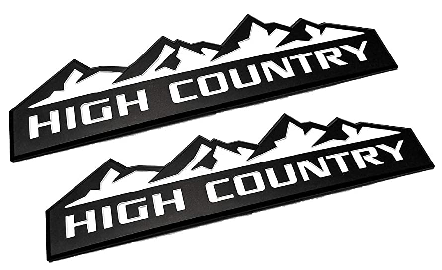 Emzscar 2pcs Country Emblem,high contry Replacement for Badges Door Tailgate 3D Nameplate for Silverado 1500 2500HD Sierra 3500HD Black White