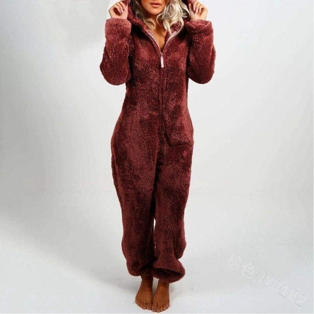 Ladies Pajamas Set Hooded Warm Brushed Furry One-Piece Couple Pa