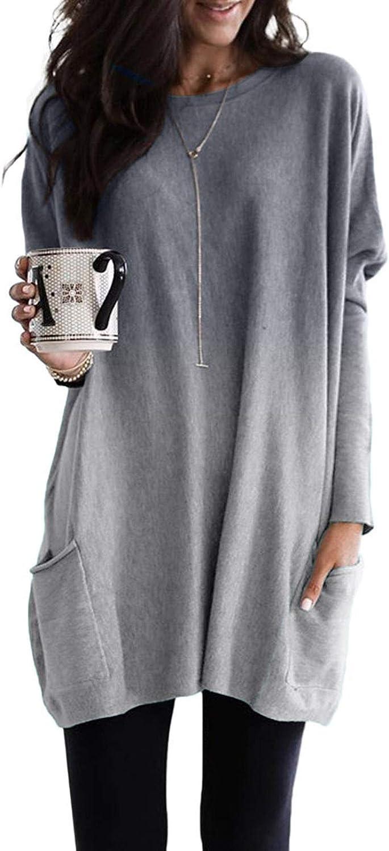 Sidefeel Women Tie Dye Oversized Crewneck Long Sleeve Sweatshirt with Pockets