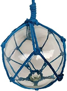 """Hampton Nautical BR-Clear-10 Clear Japanese Glass Ball Fishing Float with Dark Blue Netting 10""""-Nautical Decoration, 10 inch"""