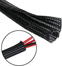 25 Feet - 3/4 inch Cord Protector Split Wire Loom Braided Cable Sleeve, Management and Organizer, Protectors for Television, Audio, Computer Cables, Prevent Pet From Chewing Cords - Black