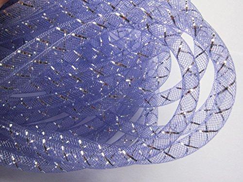 YYCRAFT 15 Yards Mesh Tube Deco Flex for Wreaths Cyberlox CRIN Crafts 8mm 3/8-Inch (Lavender/Silver)