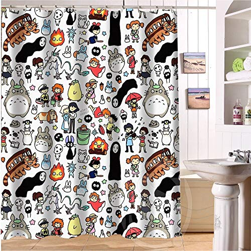 yqs Cortina de Ducha Nuevo Todo Estudio Ghibli Personaje Totoro Ducha Cortina Baño Personalizado Decoración Baño Pantallas Cortinas 12 Ganchos para El Baño