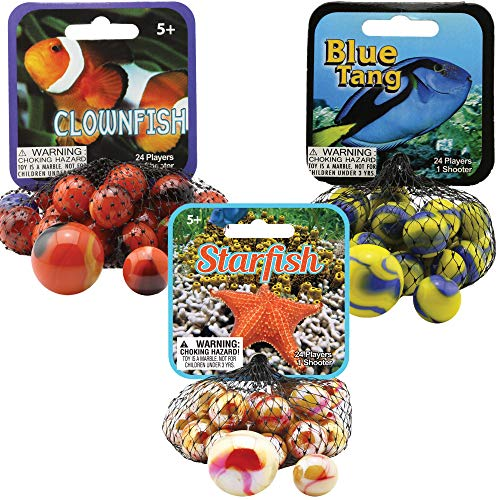 Mega Marbles 3 Pack - Clownfish, Blue Tang, & Starfish Game Nets - Includes 1 Shooter Marble & 24 Player Marbles Per Net