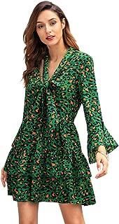 Wellwits Women's Long Sleeve Tie Neck Leopard Casual Tunic Ruffle Short Dress