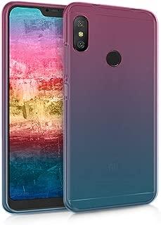 kwmobile Case for Xiaomi Redmi 6 Pro/Mi A2 Lite - Clear TPU Soft Phone Cover - Bicolor Design, Dark Pink/Blue/Transparent
