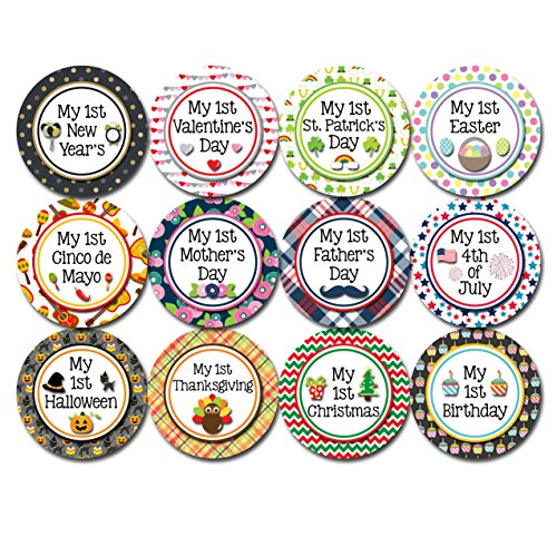 Months In Motion My First Holiday Baby Stickers Milestone Christmas, Birthday, Halloween, Easter, Thanksgiving Baby Sticker (Holiday 2)