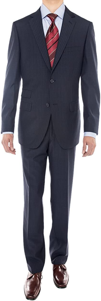 Luciano Natazzi Men's Two Button Super 160'S Wool Suit 2 Piece Jacket with Pant