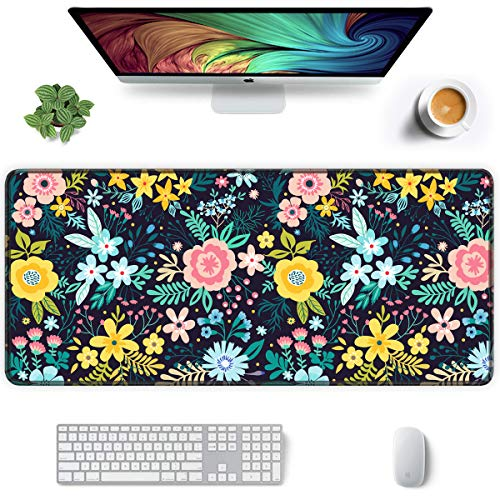 Auhoahsil Extended Mouse Pad, XXL Gaming Mouse Pads, Large Big Mousepad Laptop Computer Keyboard Mat Desk Pad with Non-Slip Base Stitched Edge for Gaming Office Women, 35.5 x 15.7 inch, Pretty Flowers