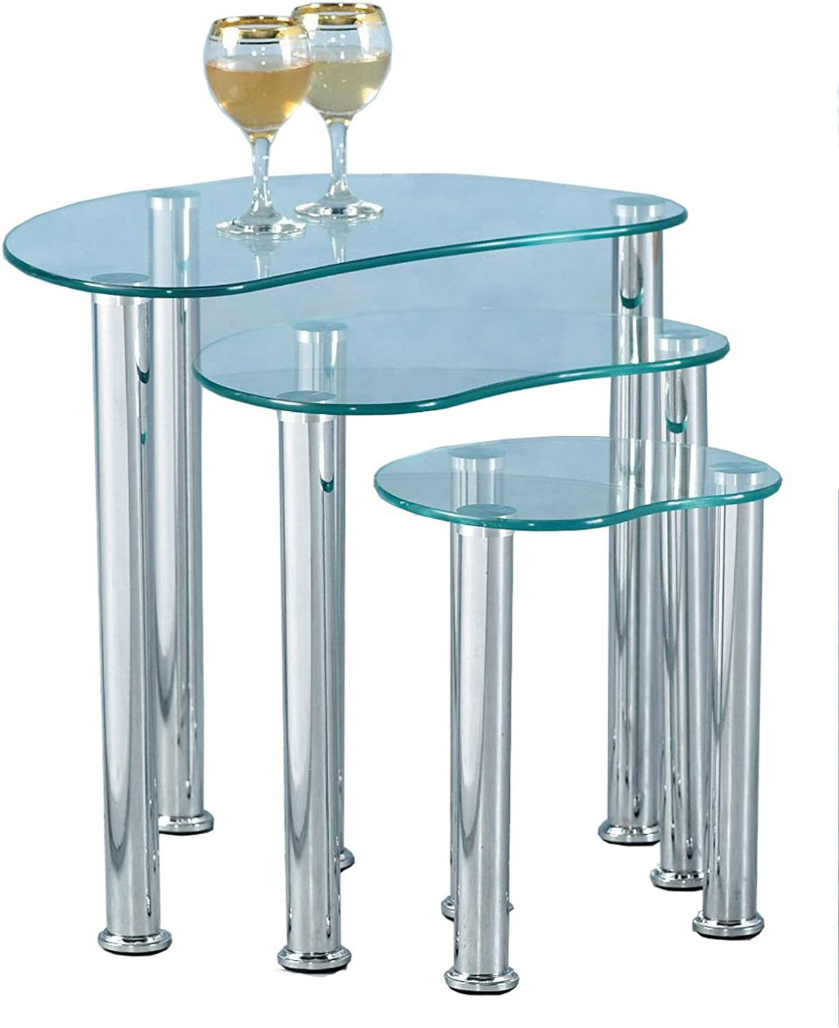 ValuFurniture Cara Clear Glass and Chrome Nest of Tables