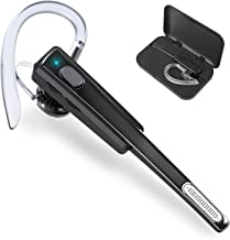 Bluetooth Headset, Wireless Bluetooth V4.1 Earphones with Ultralight Sweatproof Earpieces, Noise Cancelling Microphone for iPhone and Android Cellphones for Business/Office/Driving (Black)