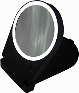 Floxite 15x Lighted Travel & Home Mirror, Black