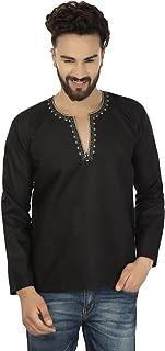 Maple Clothing Embroidered Fashion Shirt Mens Short Kurta Cotton Indian Clothing