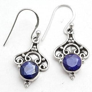Orecchini pendenti in argento sterling con pietre preziose zaffiro per donne e ragazze, orecchini con castone per orecchin...