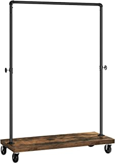 SONGMICS Clothes Rack, Industrial Pipe Style Rolling Garment Rack with Shelf, Lockable Wheels, Heavy Duty Clothing Rack for Laundry Room, Retail Store, Rustic Look UHSR65BX