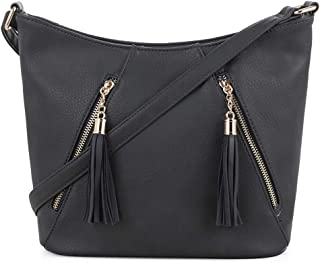 DELUXITY | Crossbody Hobo Slouch Bucket Purse Bag | Functional Multi Pocket with Tassel | Adjustable Strap