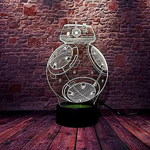 ZWANDP 3D Optical Illusion Lamp 3D Night Light Star Wars Bb-8 16 Color Changing with Remote Control Or Touch Portable USB Charging Or Battery Best Gifts for Children.
