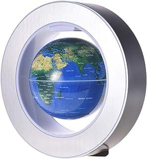 كرة أرضية ملونة بمغناطيس ليفوتيشن عائم على شكل الكرة الأرضية الزرقاء مع قاعدة دائرية ملونة LED للاستخدام في المنزل والمكتب...