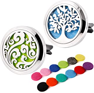 RoyAroma 2PCS Aromatherapy Car Essential Oil Diffuser Vent Clip - Cloud, Tree Stainless Steel Locket with 12 Refill Pads