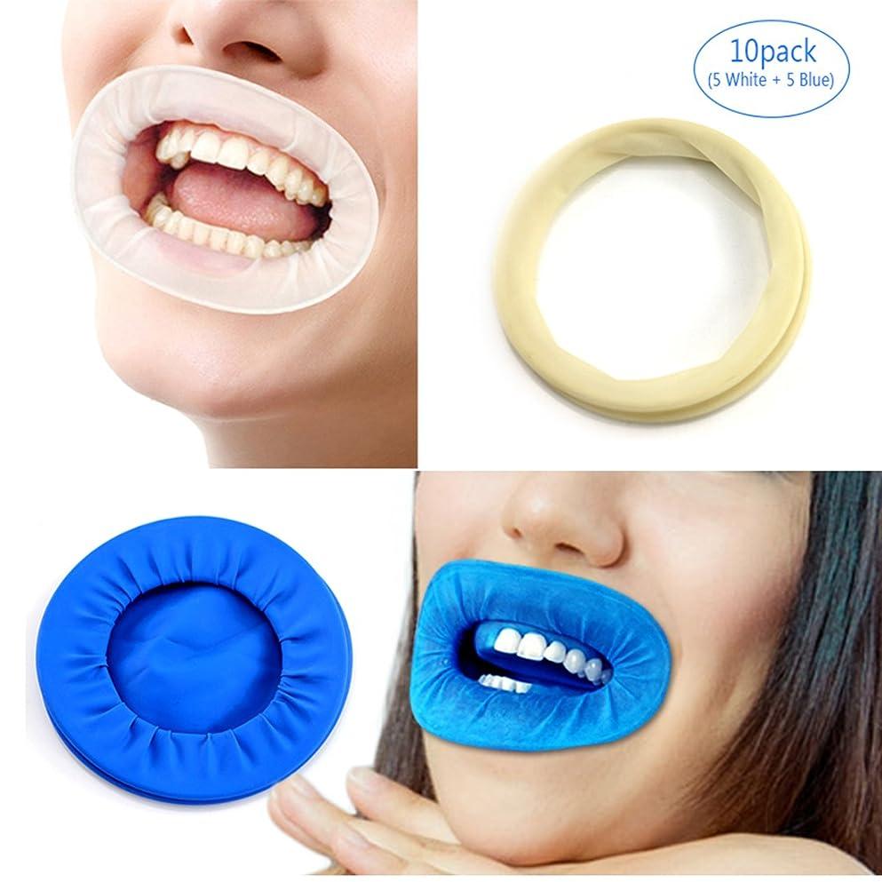 曇った塊六分儀EZGO 10個歯科用ディスポーザブル非ラテックスラバーティックリトラクタ、ラバーダム&マウスギャグオープナーは歯を分離し、液体、感染症および過酷な化学物質から口を保護します(10パック) (5white+5blue)