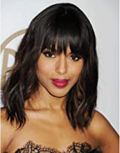 AISI HAIR Wavy Bob Wigs with Bangs for Women Black Mixed Brown Color Short Wavy Bob Curly Wig Synthetic Natural Looking Heat Resistant Fiber Hair for Black Women