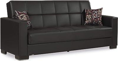 Amazon.com: Coaster piel sofá cama de transición con café ...