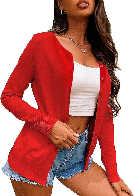 a.Jesdani Women's Button Down Crew Neck Long Sleeve Soft Knit Cardigan Sweaters