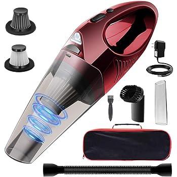 DOFLY 車用掃除機 ハンディクリーナー コードレス 8500Pa強い吸引力 充電式 小型 軽量 静音 LED機能付き 40分間連続稼働 家 事務所 車用 レッド