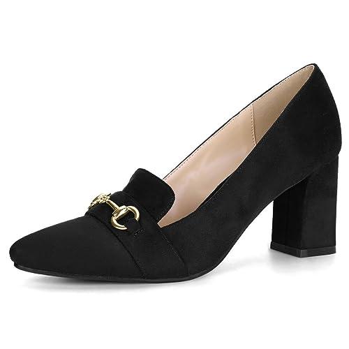 72d925ddad8 Allegra K Women s Pointed Toe Buckle Block Heel Plaid Pumps