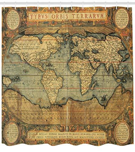 Antiguo Atlas Vintage Antiguo gráfico Cortina de Ducha Impermeable Decorativa con impresión HD, Adecuada para baño, 12 Ganchos Gratis,180x200cm