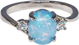 Clearance Rings,Exquisite Women's Sterling Silver Ring Oval Cut Fire Opal Diamond Band Rings