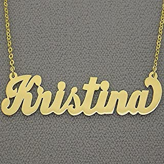 2 Inch Large Name Necklace 14k Gold Personalized Bold Script Font Initials Nameplate Jewelry