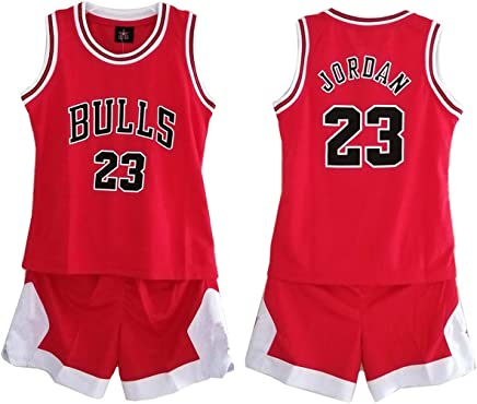 6b63a8a916ee7 Daoseng Enfant garçon NBA Michael Jordan # 23 Chicago Bulls Short de Basket- Ball Retro