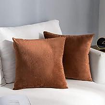 NANPIPER Set of 2 Velvet Soft Decorative Cushion Throw Pillow Covers 20x20 Inch/50x50 cm Cozy Solid Velvet Square Pillowca...