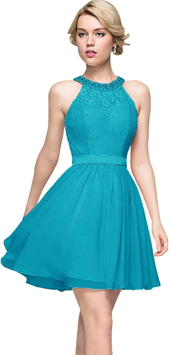 WHZZ Women's Short Homecoming Dress Lace Beaded Party Cocktail Formal Dress