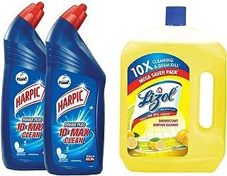 Harpic Disinfectant Toilet Cleaner Liquid, Original - 1 L (Pack of 2) With Lizol Floor Cleaner, Citrus - 2 L