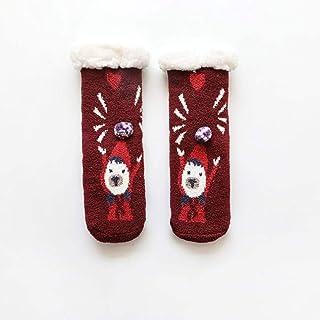 BAONUANM, Calcetines Pantuflas para Invierno, cálidos, Gruesos, Suaves, Antideslizantes, para niños y Adultos, Calcetines para Pantuflas de Tubo Medio, Calcetines para Navidad, Año Nuevo