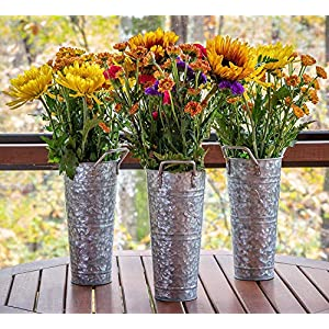 Silk Flower Arrangements WH Galvanized Metal Farmhouse Flower Vases 9 Inch - Rustic Decorative French Flower Bucket Pots for Wedding Table Centerpiece Decorations, Home Decor by Walford Home