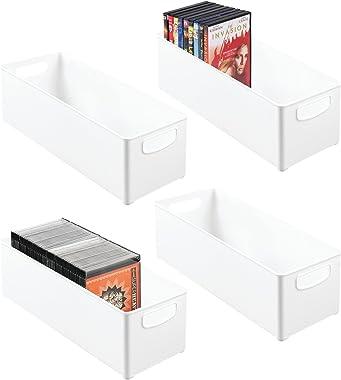 mDesign Rangement DVD empilable avec poignée en Lot de 4 – Caisse de Rangement pour DVD, CD et Jeux vidéo avec poignée – Rang