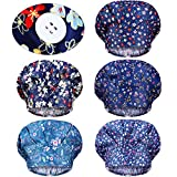 Geyoga 5 Pieces Adjustable Bouffant Caps with Buttons Printed Tie Back Hats with Sweatband Hat for Women Men, 5 Styles (Cute Flower Pattern)