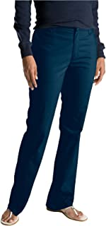 Dickies Women's Flat Front Stretch Twill Pant Slim Fit Bootcut, Dark Navy, 20