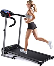 Goplus 1100W Electric Folding Treadmill with LCD Display and Pad Holder, Compact Running..