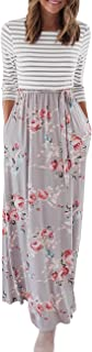 Women's Striped Floral Print 3/4 Sleeve Tie Waist Maxi Dress with Pockets
