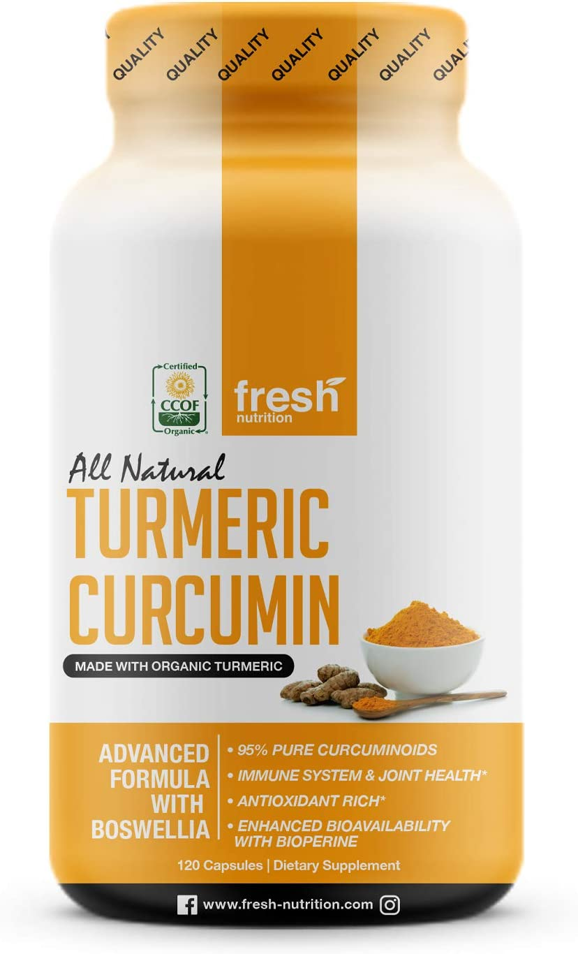 Organic Turmeric Be super welcome Curcumin with Added - Capsules Safety and trust 120 Boswellia